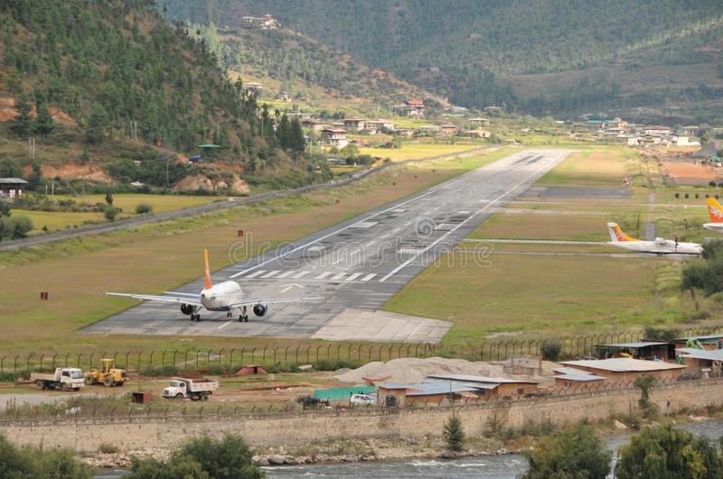 Paro Airport from the road royalty free stock image