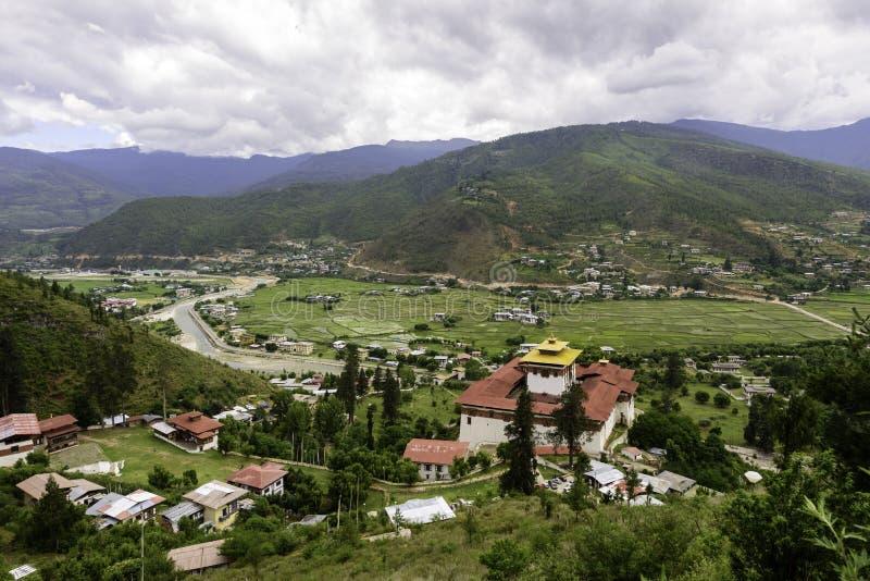 Paro Bhutan, sikt av Paro Dzong arkivfoto