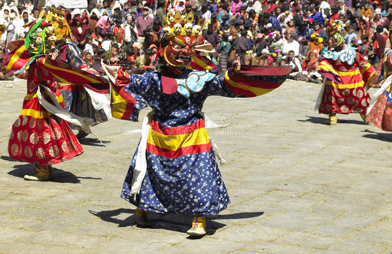 Paro Tsechu dans le royaume du Bhutan photographie stock libre de droits