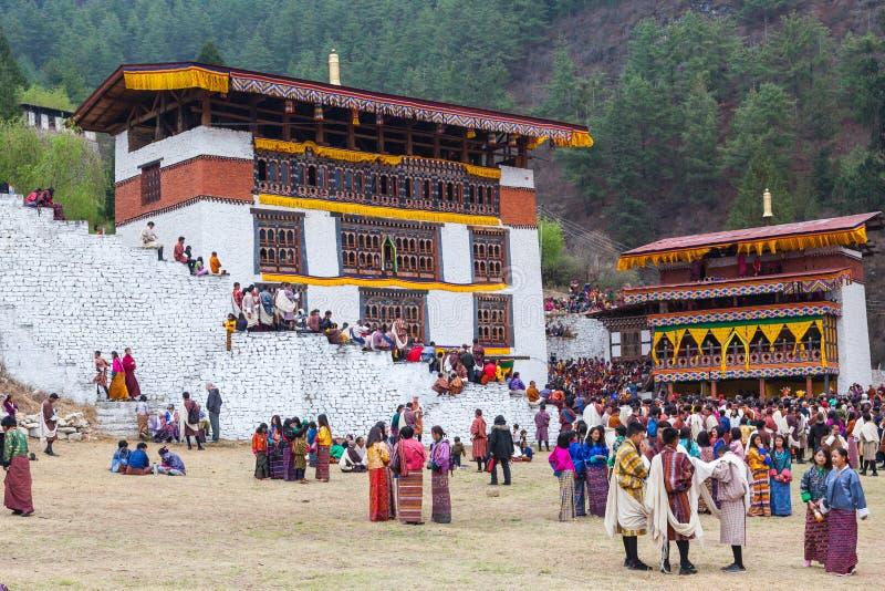 Paro Tsechu festival i Bhutan fotografering för bildbyråer