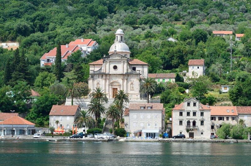 Parochiekerk van Geboorte van Christus van Virgin Kotorbaai, Prcanj, Montenegro royalty-vrije stock foto's