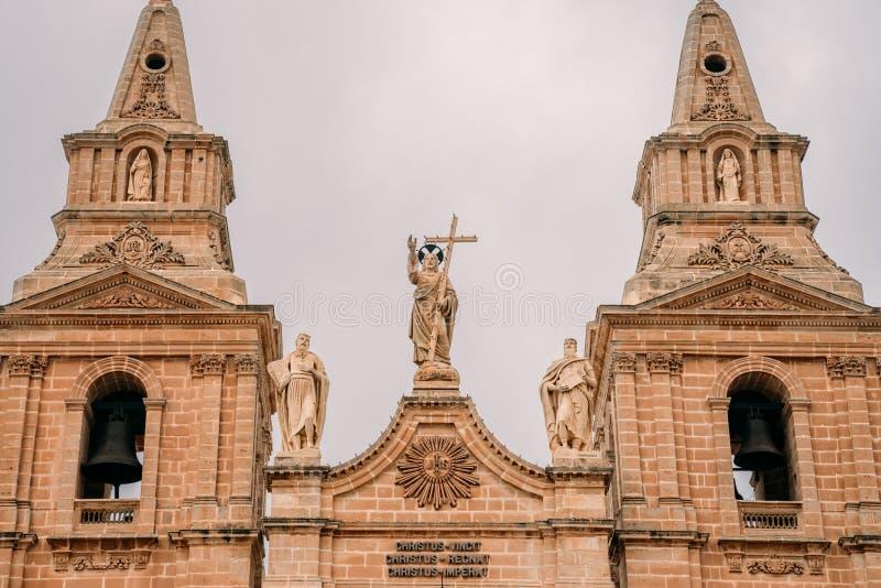 Parochiekerk van Mellieha op Malta stock afbeeldingen