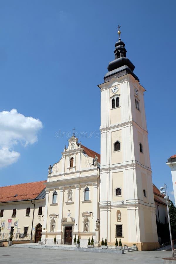 Parochiekerk van Sinterklaas in Cakovec, Kroatië stock foto's