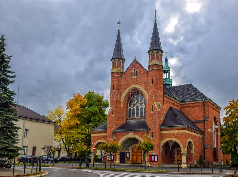 Parochiekerk van St Kazimierz in Nowy Sacz, Polen stock fotografie