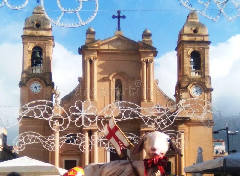 parochiekerk van terrasini in de provincie van Palermo Italië stock afbeelding