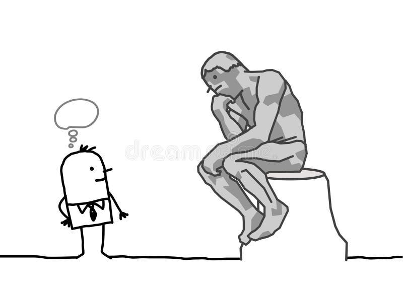 Parodiar del pensador de Rodin stock de ilustración