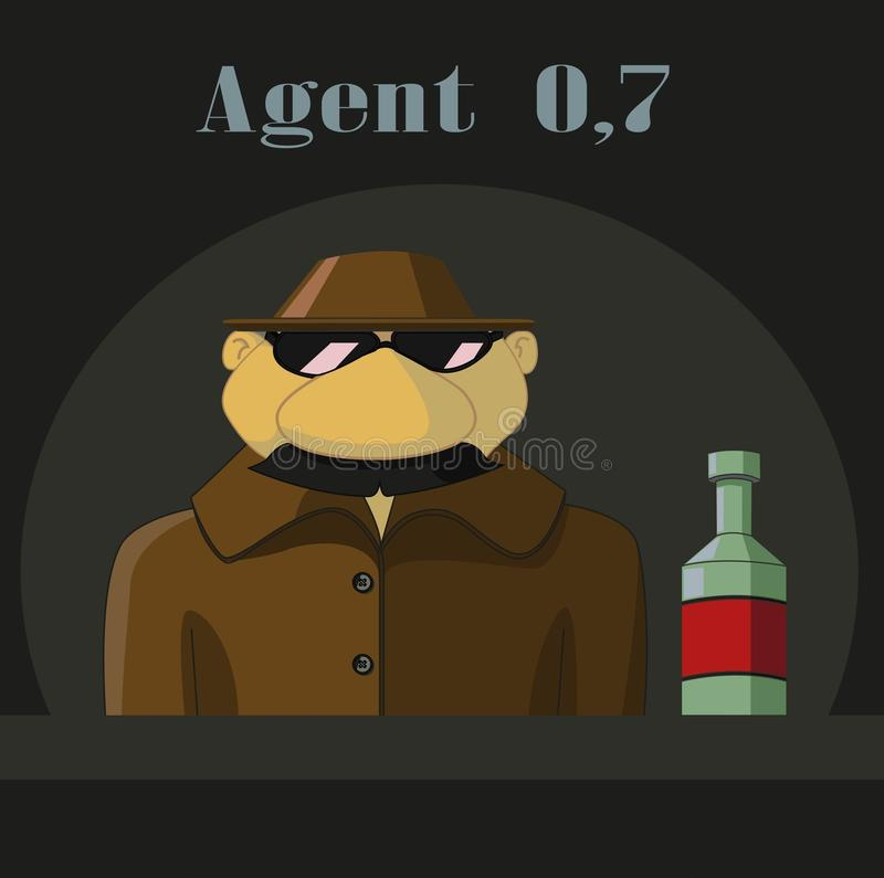 Parody  of Agent 007. KGB agent in a hat with a number of standing a bottle of 0.7 liters royalty free illustration