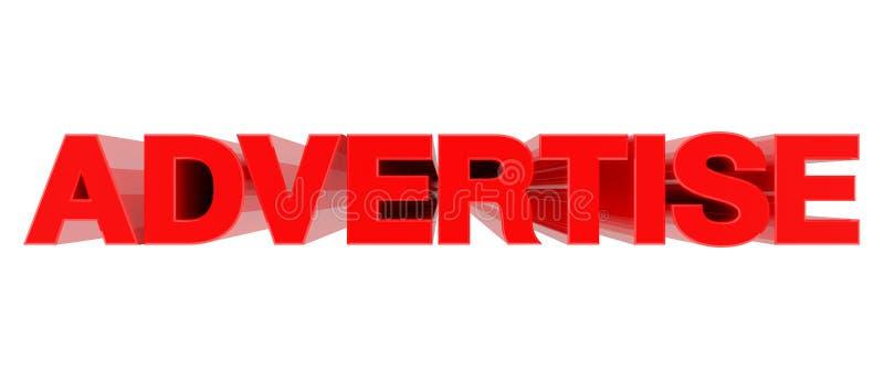 Parola ADVERTISE isolata su fondo bianco 3d rendering illustrazione di stock