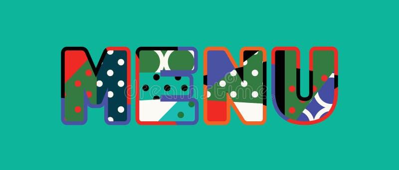 Parola Art Illustration di concetto del menu illustrazione di stock
