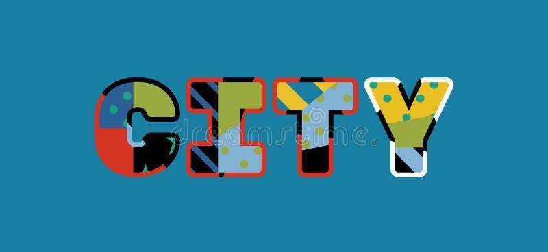 Parola Art Illustration di concetto della città illustrazione vettoriale
