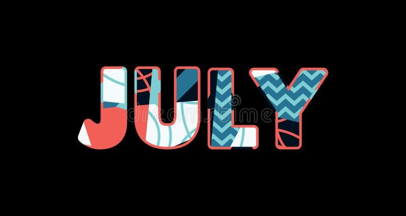 Parola Art Illustration di concetto di luglio illustrazione di stock