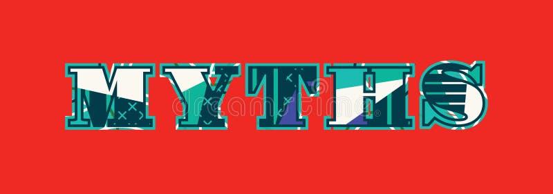 Parola Art Illustration di concetto di miti illustrazione vettoriale
