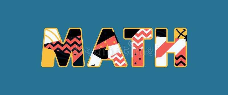 Parola Art Illustration di concetto di per la matematica illustrazione vettoriale