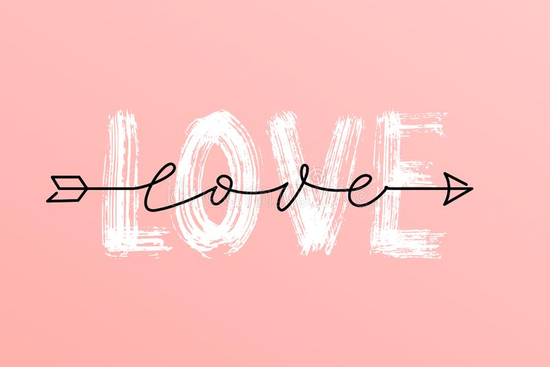 Parola asciutta della spazzola di amore e sopra la parola superiore dello scritto di amore nell'iscrizione disegnata a mano della royalty illustrazione gratis