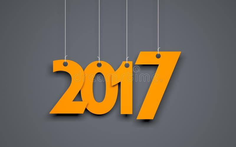 Parola bianca 2017 su fondo grigio Illustrazione di nuovo anno royalty illustrazione gratis