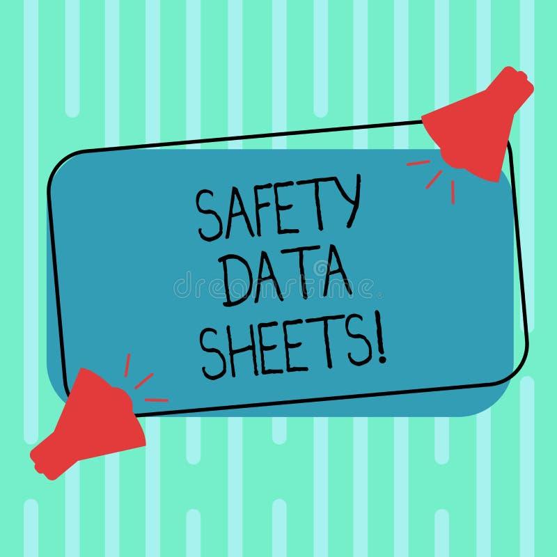 Parola che redige le schede di dati di sicurezza del testo Concetto di affari per informazioni delle liste del documento che coll illustrazione vettoriale