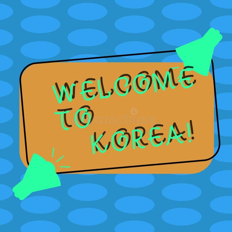 Parola che scrive benvenuto del testo in Corea Concetto di affari per arrivare alla cultura differente due del paese moderno asia illustrazione di stock