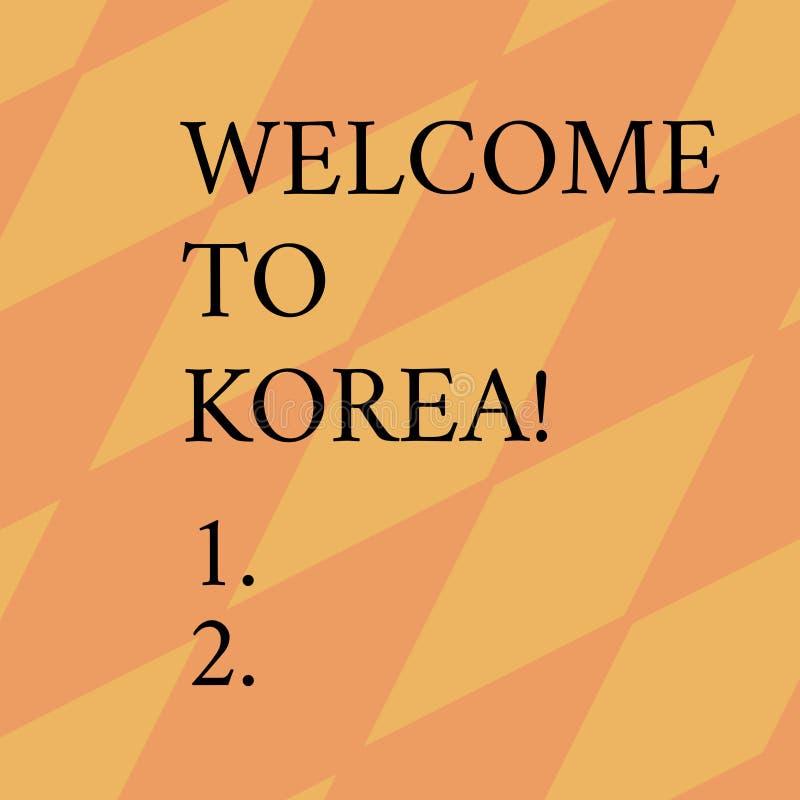 Parola che scrive benvenuto del testo in Corea Concetto di affari per arrivare alla cultura differente del paese moderno asiatico illustrazione vettoriale