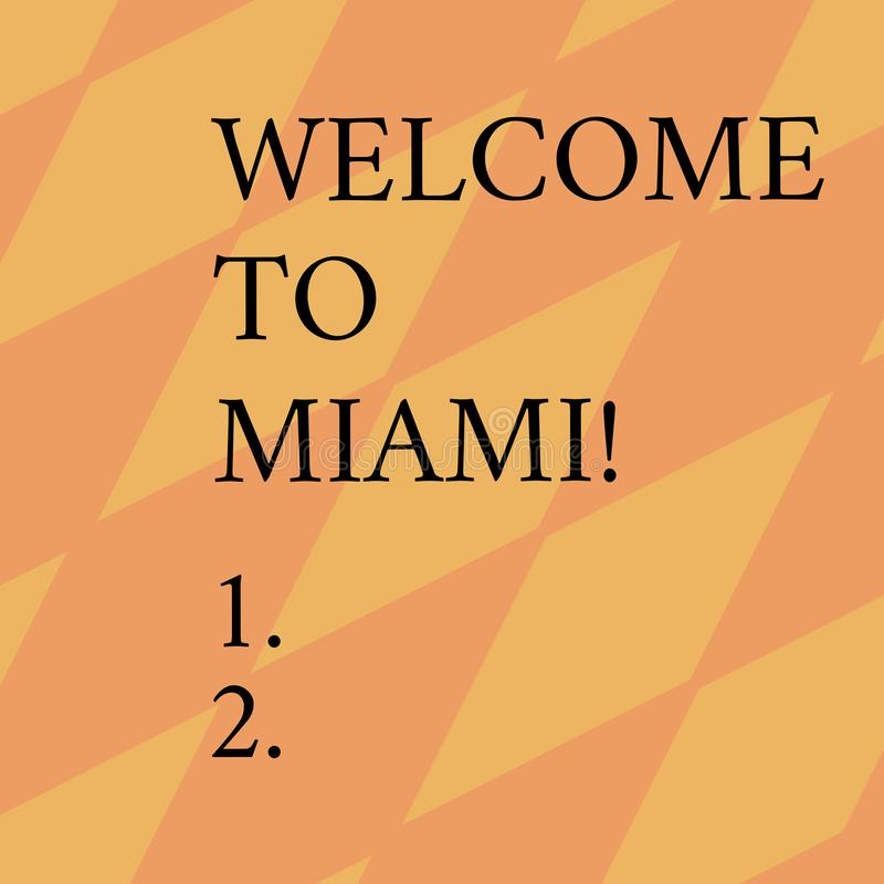 Parola che scrive benvenuto del testo a Miami Concetto di affari per arrivare alla vacanza soleggiata della spiaggia di estate de illustrazione di stock