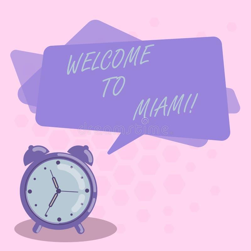 Parola che scrive benvenuto del testo a Miami Concetto di affari per arrivare allo spazio in bianco soleggiato di vacanza della s illustrazione vettoriale