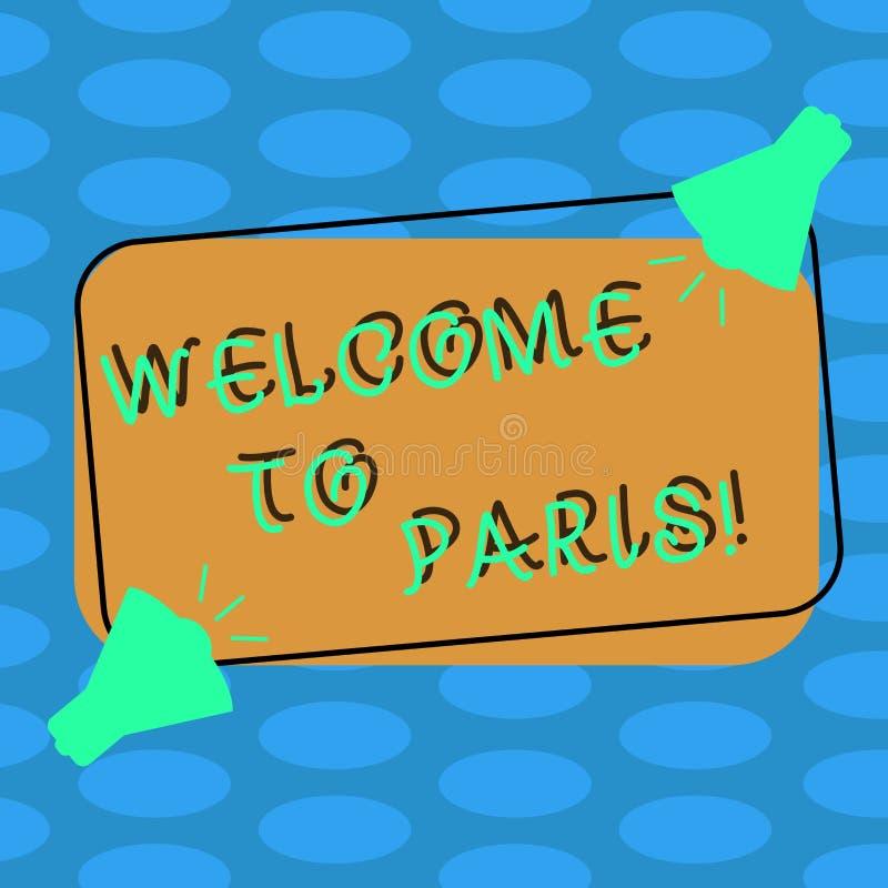 Parola che scrive benvenuto del testo a Parigi Concetto di affari per arrivare alla capitale della cultura europea due della Fran royalty illustrazione gratis