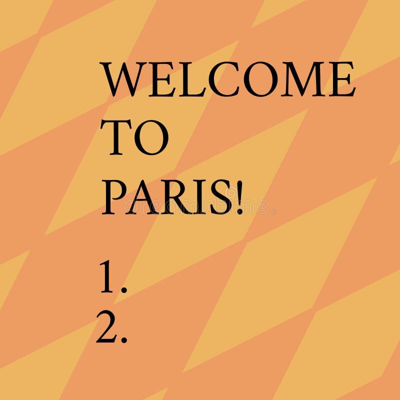 Parola che scrive benvenuto del testo a Parigi Concetto di affari per arrivare alla capitale della cultura europea della Francia  illustrazione di stock