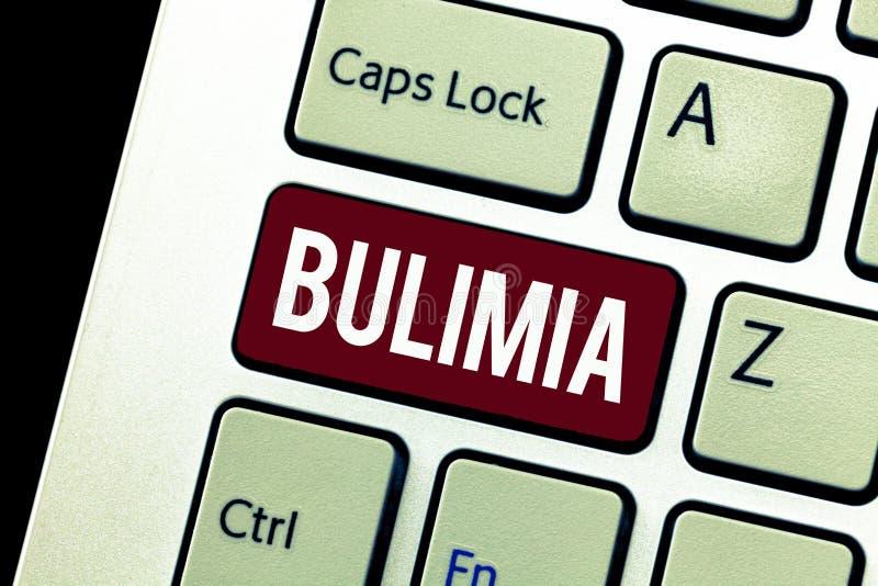 Parola che scrive bulimia del testo Concetto di affari per l'ossessione estrema di ottenere disturbo psichico di peso eccessivo immagine stock libera da diritti