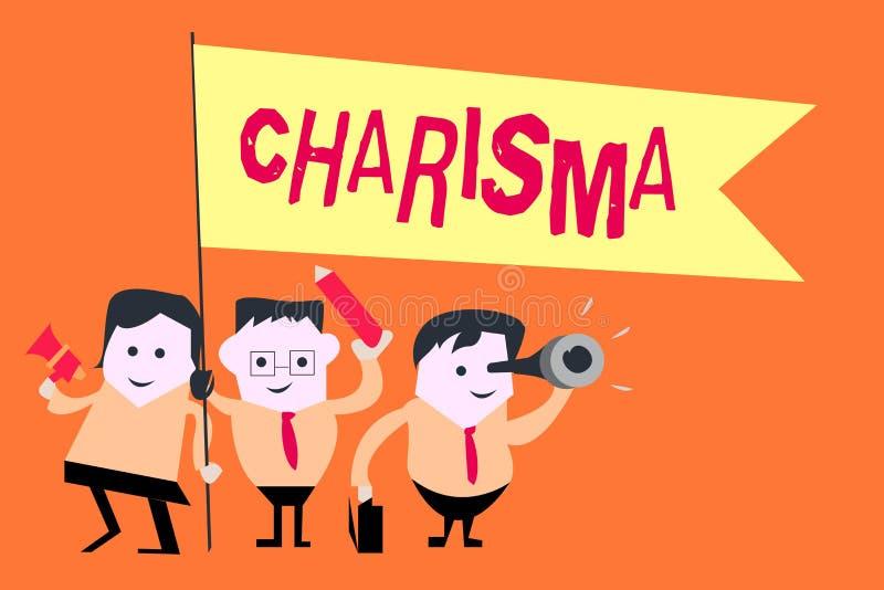 Parola che scrive carisma del testo Concetto di affari per l'attrattiva coercitiva o incanto che ispirano la devozione in altre illustrazione di stock