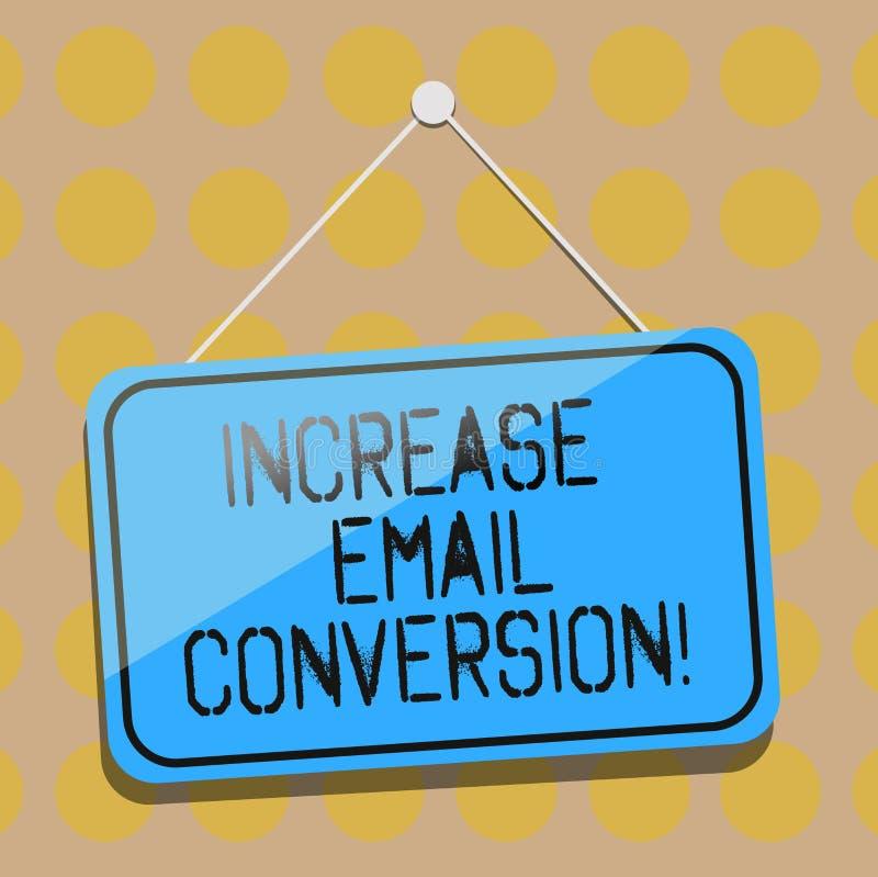 Parola che scrive conversione del email di aumento del testo Concetto di affari per azione che ha luogo sul vostro colore d'attac illustrazione vettoriale