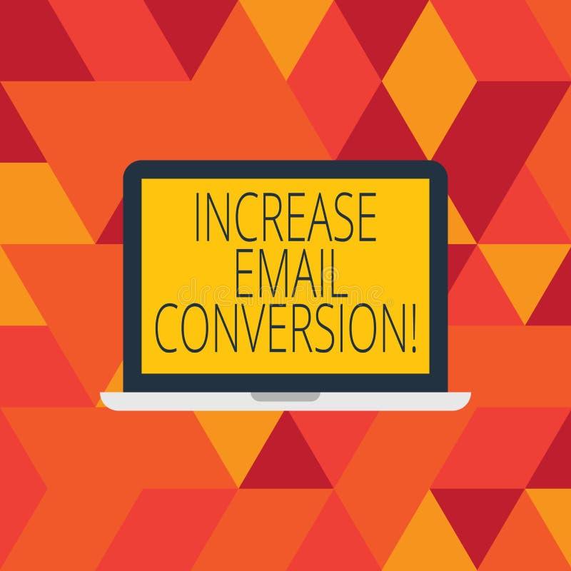 Parola che scrive conversione del email di aumento del testo Concetto di affari per azione che ha luogo sul vostro monitor d'atte illustrazione di stock