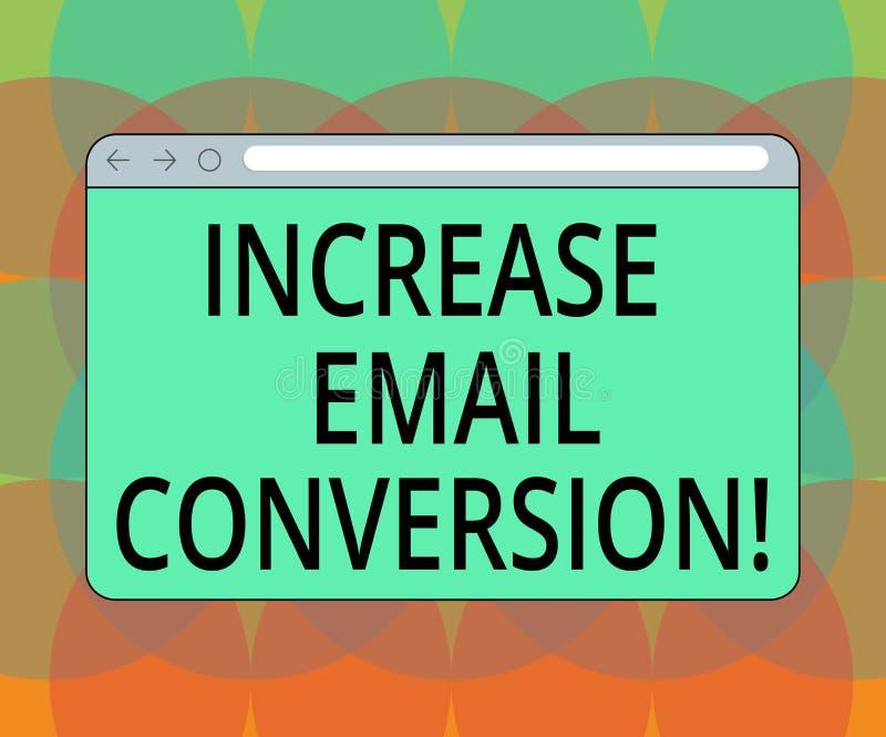 Parola che scrive conversione del email di aumento del testo Concetto di affari per azione che ha luogo sul vostro schermo di mon royalty illustrazione gratis