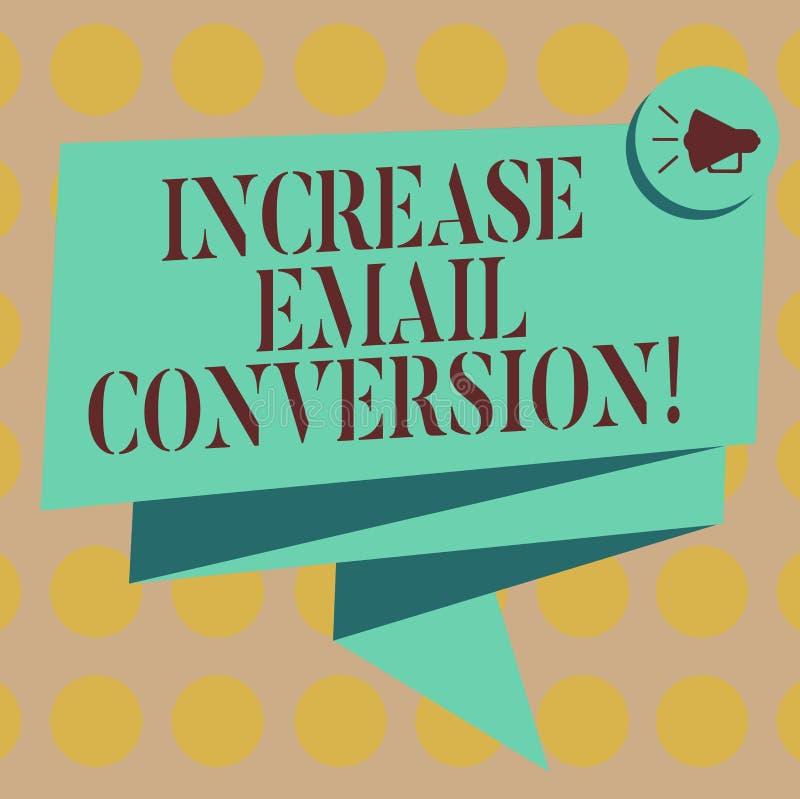 Parola che scrive conversione del email di aumento del testo Il concetto di affari per azione che ha luogo alla vostra pagina d'a illustrazione di stock