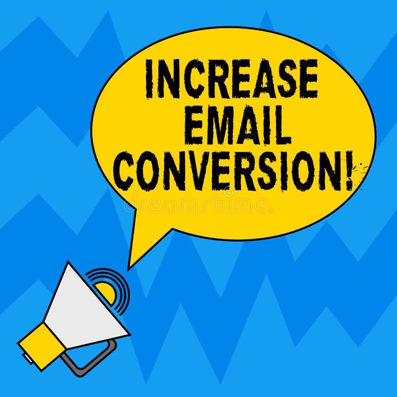 Parola che scrive conversione del email di aumento del testo Il concetto di affari per azione che ha luogo sul vostro ovale d'att illustrazione vettoriale