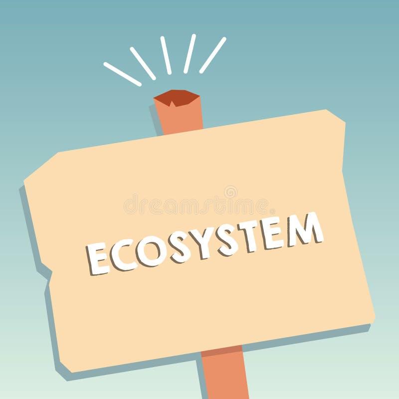 Parola che scrive ecosistema del testo Concetto di affari per la comunità biologica degli organismi e dello spazio in bianco d'in illustrazione vettoriale