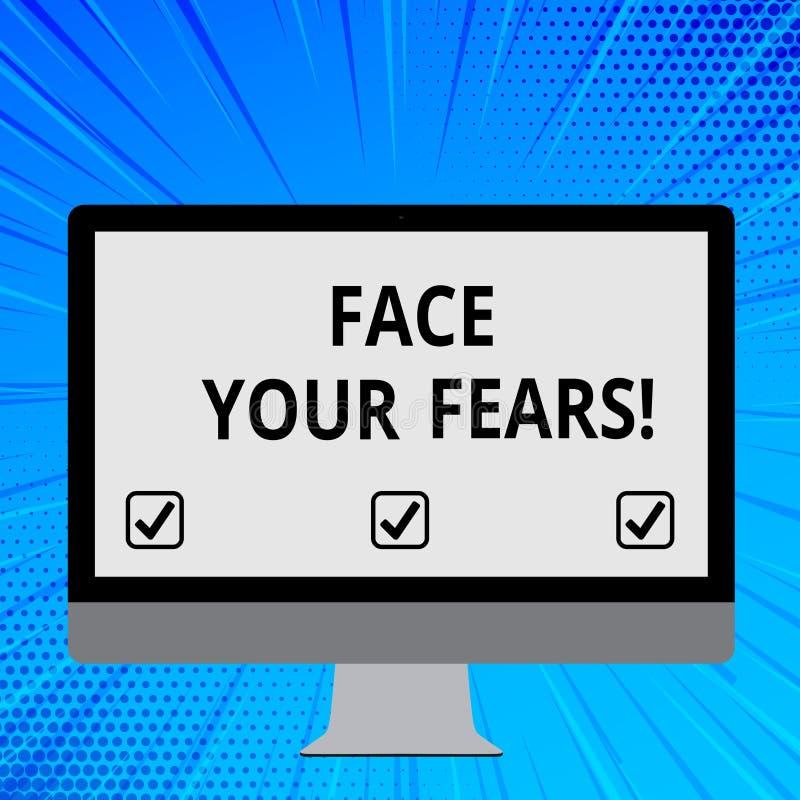 Parola che scrive a fronte del testo i vostri timori Il concetto di affari per riconoscervi è impaurito qualcosa e prova il lavor illustrazione vettoriale