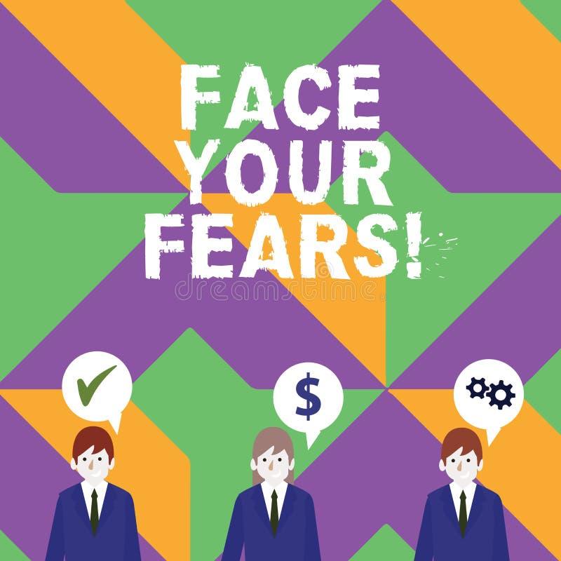 Parola che scrive a fronte del testo i vostri timori Il concetto di affari per riconoscervi è impaurito qualcosa e prova il lavor illustrazione di stock
