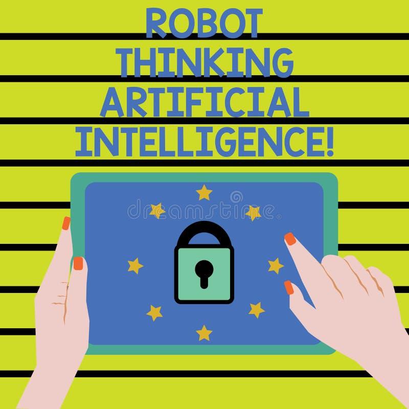 Parola che scrive il robot del testo che pensa intelligenza artificiale Concetto di affari per il contatto femminile della mano d illustrazione di stock