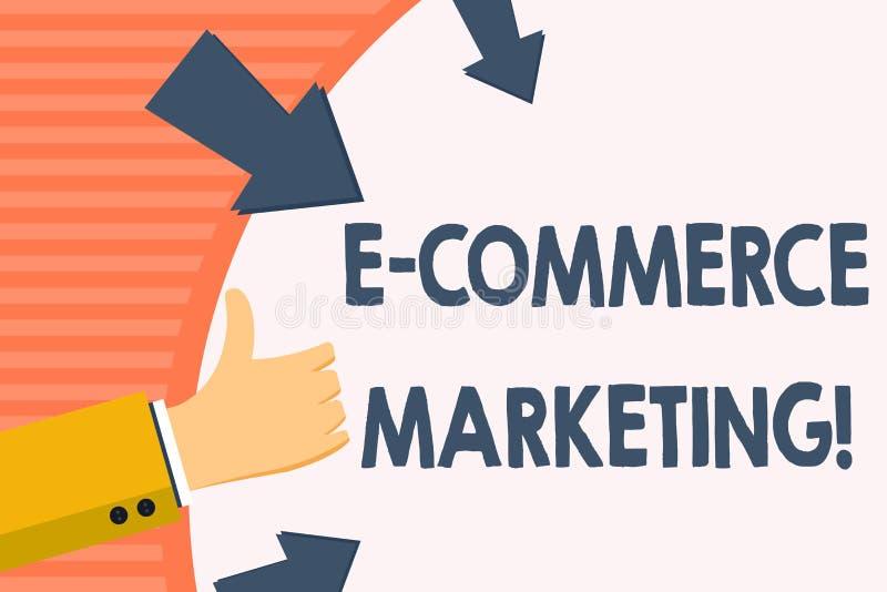 Parola che scrive introduzione sul mercato di commercio elettronico del testo Concetto di affari per l'affare che vende elettroni illustrazione di stock