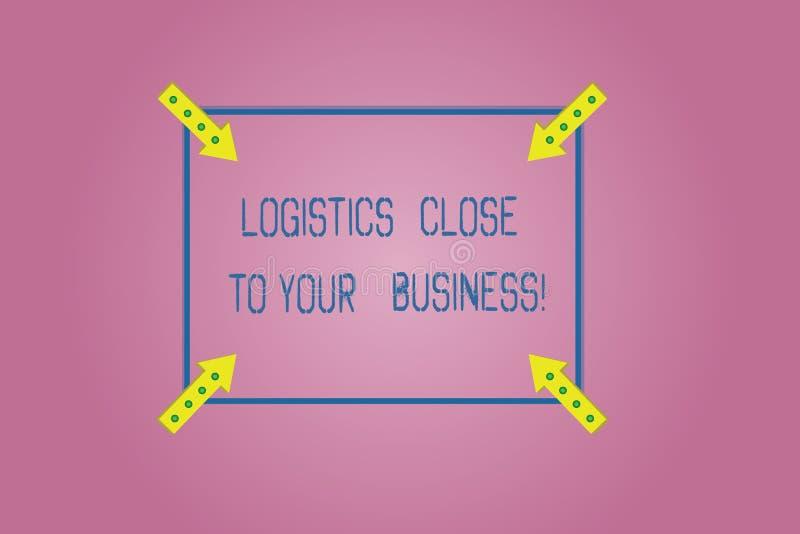 Parola che scrive la logistica del testo vicino al vostro affare Concetto di affari per i mezzi di trasporto vicino al profilo qu fotografia stock libera da diritti