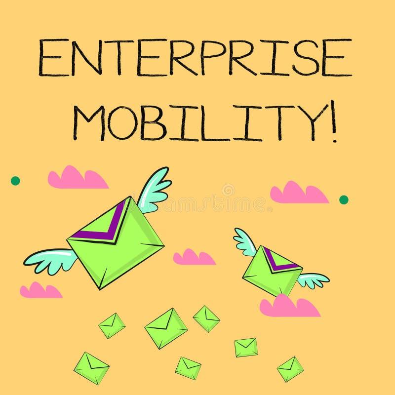 Parola che scrive mobilit? di impresa del testo Il concetto di affari per gli impiegati fa a distanza i lavori facendo uso dell'd royalty illustrazione gratis