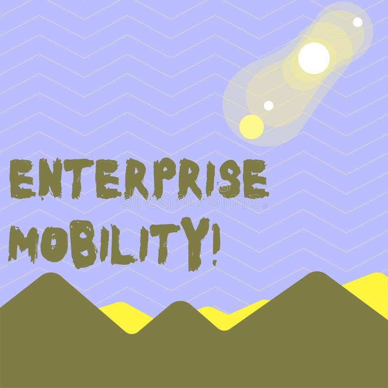 Parola che scrive mobilit? di impresa del testo Il concetto di affari per gli impiegati fa a distanza i lavori facendo uso di una illustrazione vettoriale
