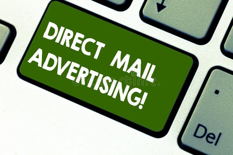 Parola che scrive pubblicità diretta del testo Concetto di affari per consegnare il materiale di vendita al cliente di posta post royalty illustrazione gratis