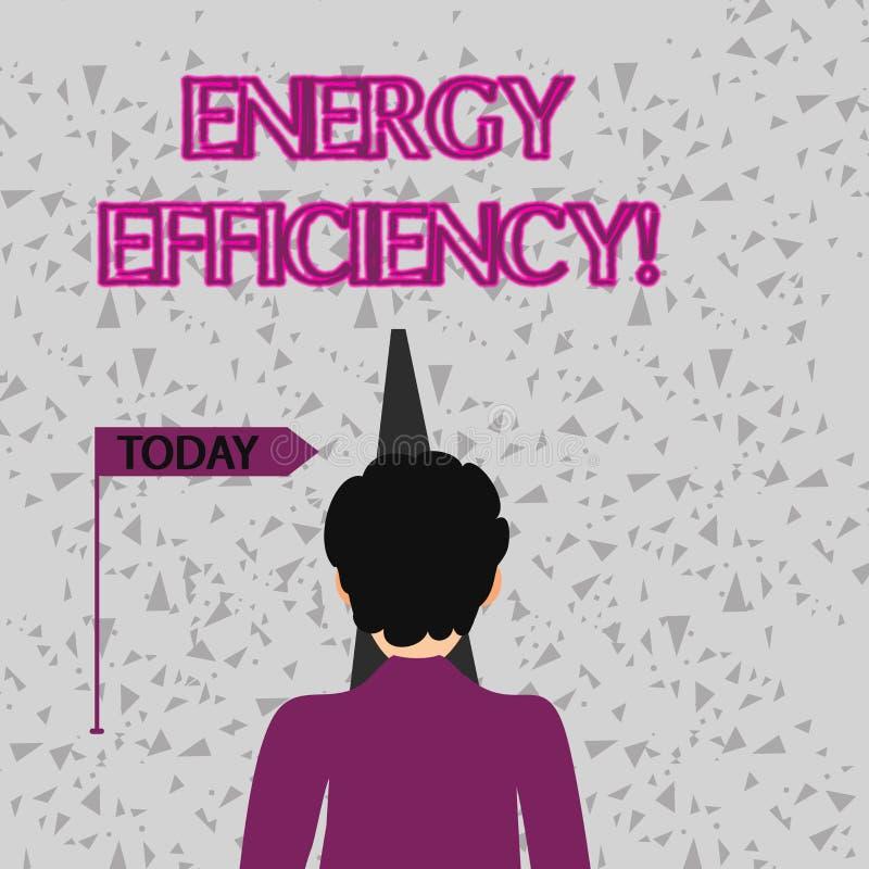 Parola che scrive rendimento energetico del testo Concetto di affari per i mezzi usando meno energia per fornire lo stesso affron royalty illustrazione gratis