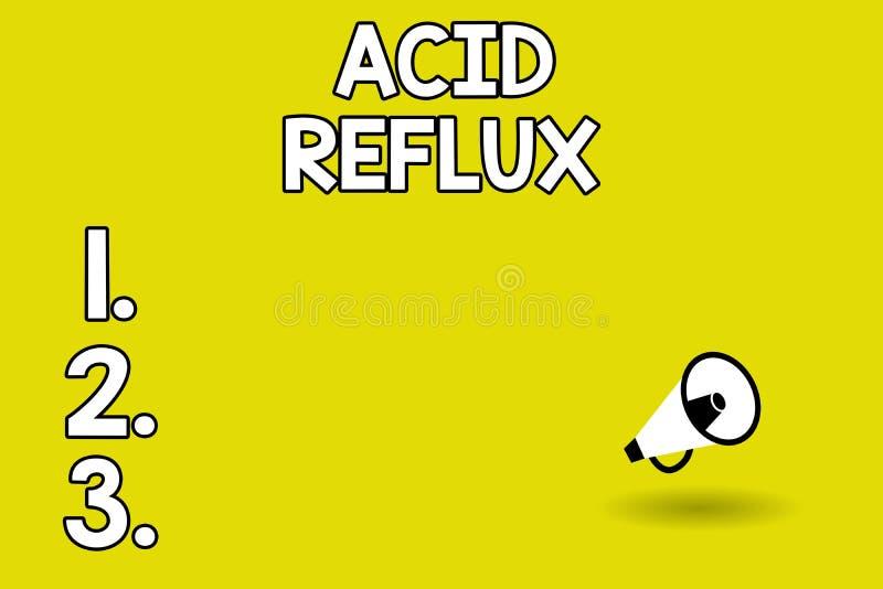 Parola che scrive riflusso dell'acido del testo Concetto di affari per la circostanza dove l'acido sostiene dallo stomaco all'eso illustrazione vettoriale