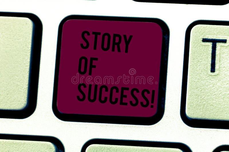 Parola che scrive storia del testo di successo Il concetto di affari per la dimostrazione aumenta all'acclamazione di fortuna o a fotografia stock
