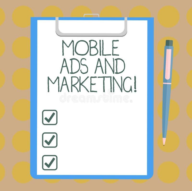 Parola che scrive a testo gli annunci mobili e commercializzazione Concetto di affari per le promozioni digitali di media sociali royalty illustrazione gratis