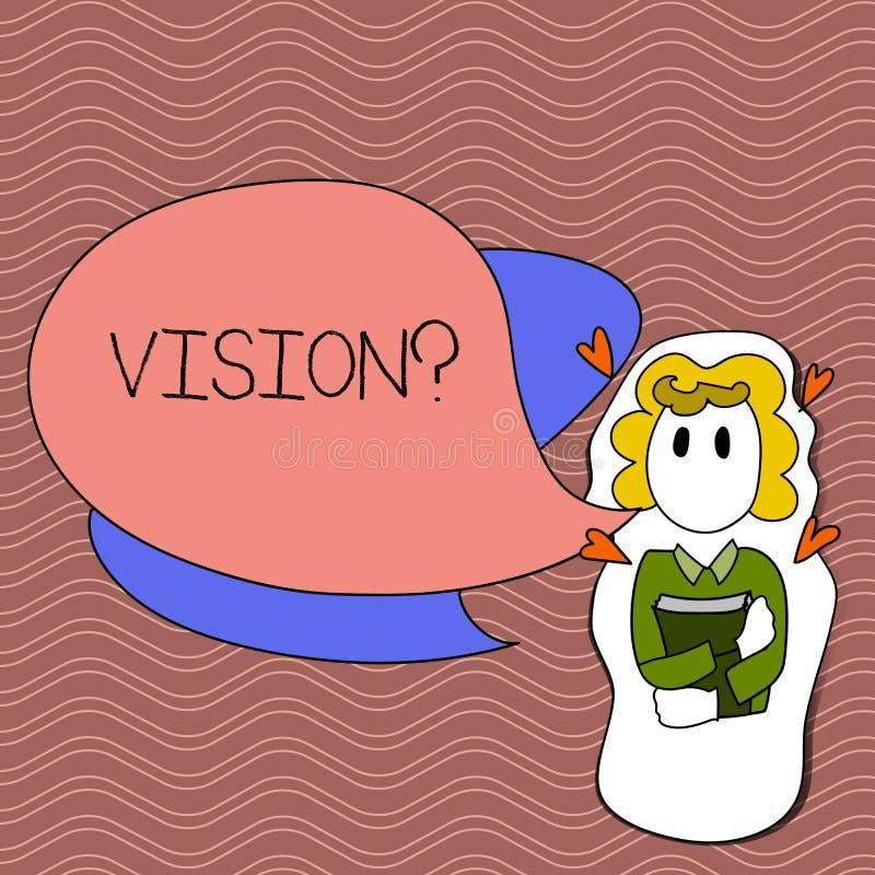 Parola che scrive testo Visionquestion Concetto di affari per l'impegno della società che descrive la tenuta realistica futura de illustrazione di stock