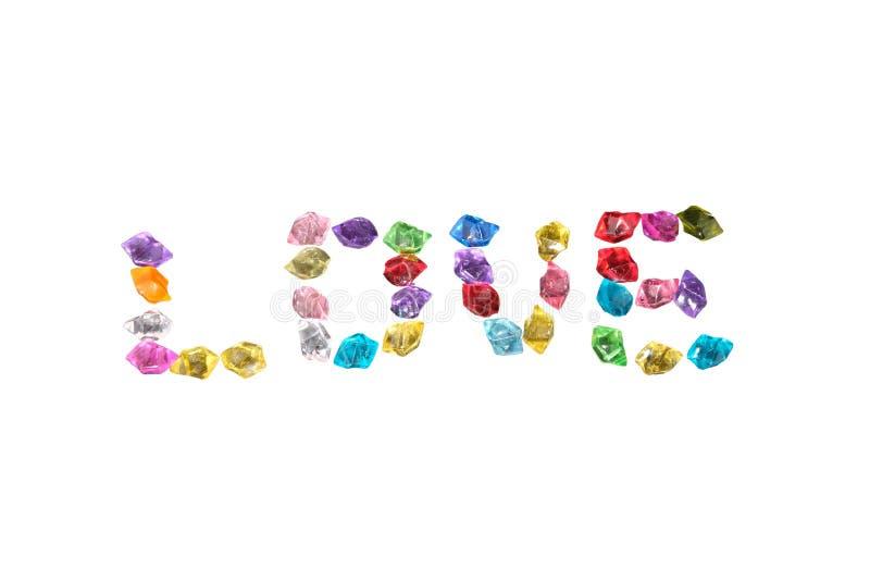 Parola d'amore idee artigianali con pietre di gioielli su fondo bianco illustrazione di stock