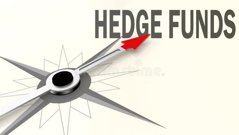 Parola dei hedge fund sulla bussola con la freccia rossa royalty illustrazione gratis