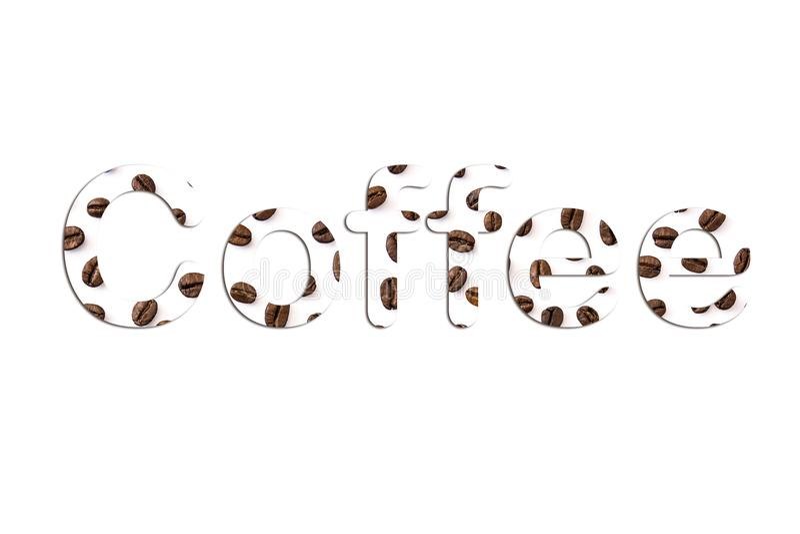 Parola del caffè con i chicchi di caffè dentro su fondo bianco immagini stock libere da diritti